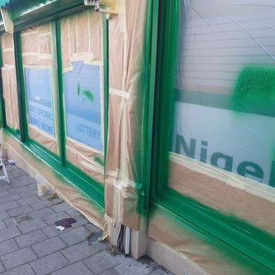 Shop Front Spraying before