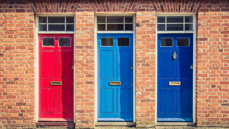 Three Different coloured doors
